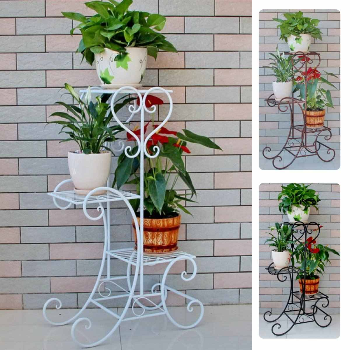 Simple Metal Flower Plant Display Stand Home Garden 3 Tiers Plant Flower Pot Storage Rack Corner Shelf Balcony Flower Stand