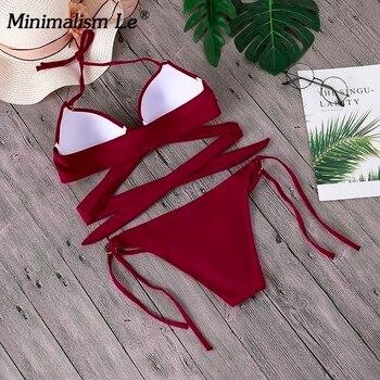 2020 Sexy Solid Swimwear Women Bikini Set Swimsuit Halter Top Bikinis Bathing Beachwear Bandage Biquini Mujer Plus Size 4