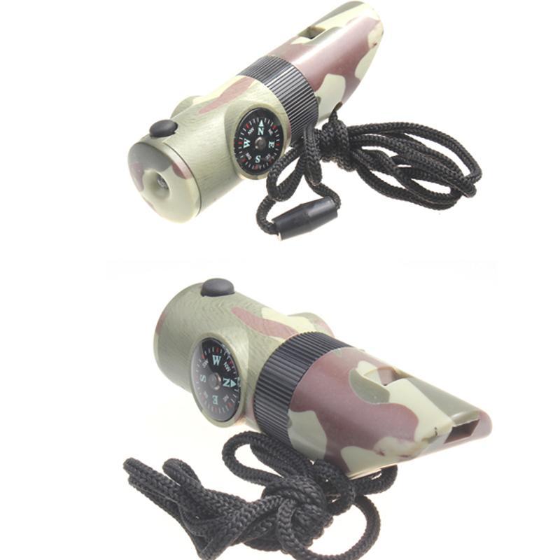 7 в 1 светодиодный Лупа с компасом свисток для выживания на открытом воздухе походный инструмент безопасности аварийный компас термометр с светодиодный светильник