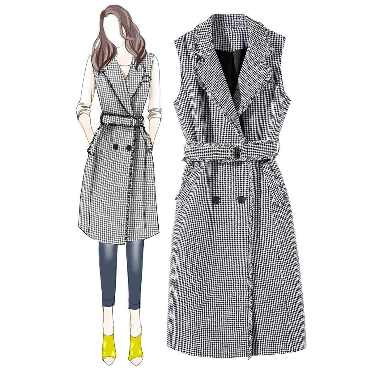 Autumn Spring Women Office Work Dress Vintage Slim Vest Plaid Female Fashion Sleeveless Tassel