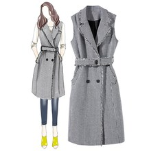 Autumn Spring Women Office Work Dress Vintage Slim Vest Plaid Female Fashion Sleeveless Tassel