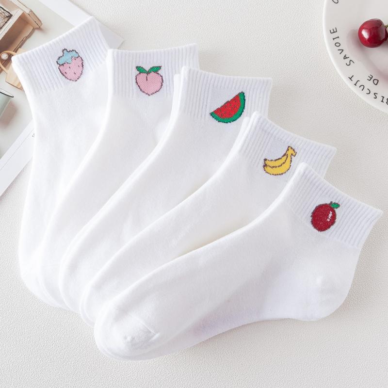 Summer Cute Socks Autumn Girls Cotton Blend White Shallow Sock Women Small Fresh Breathable Short Ankle Socks