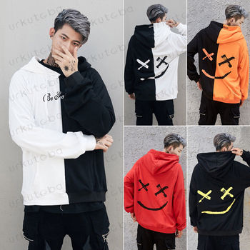 2019 New Men Hoodies Sweatshirts Smile Print Headwear Hoodie Hip Hop Streetwear Clothing Us size Plus Size 3XL 1