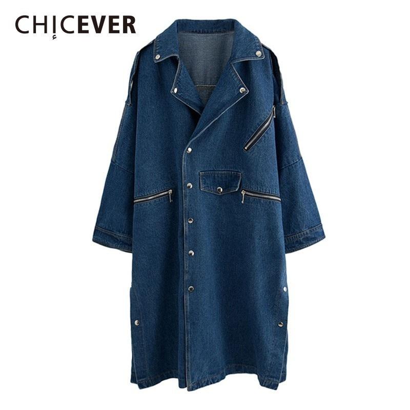 CHICEVER Rivet Women's Windbreaker   Trench   Coat Female Long Sleeve Loose Denim Windbreakers Coats Fashion Casual Clothes New 2018