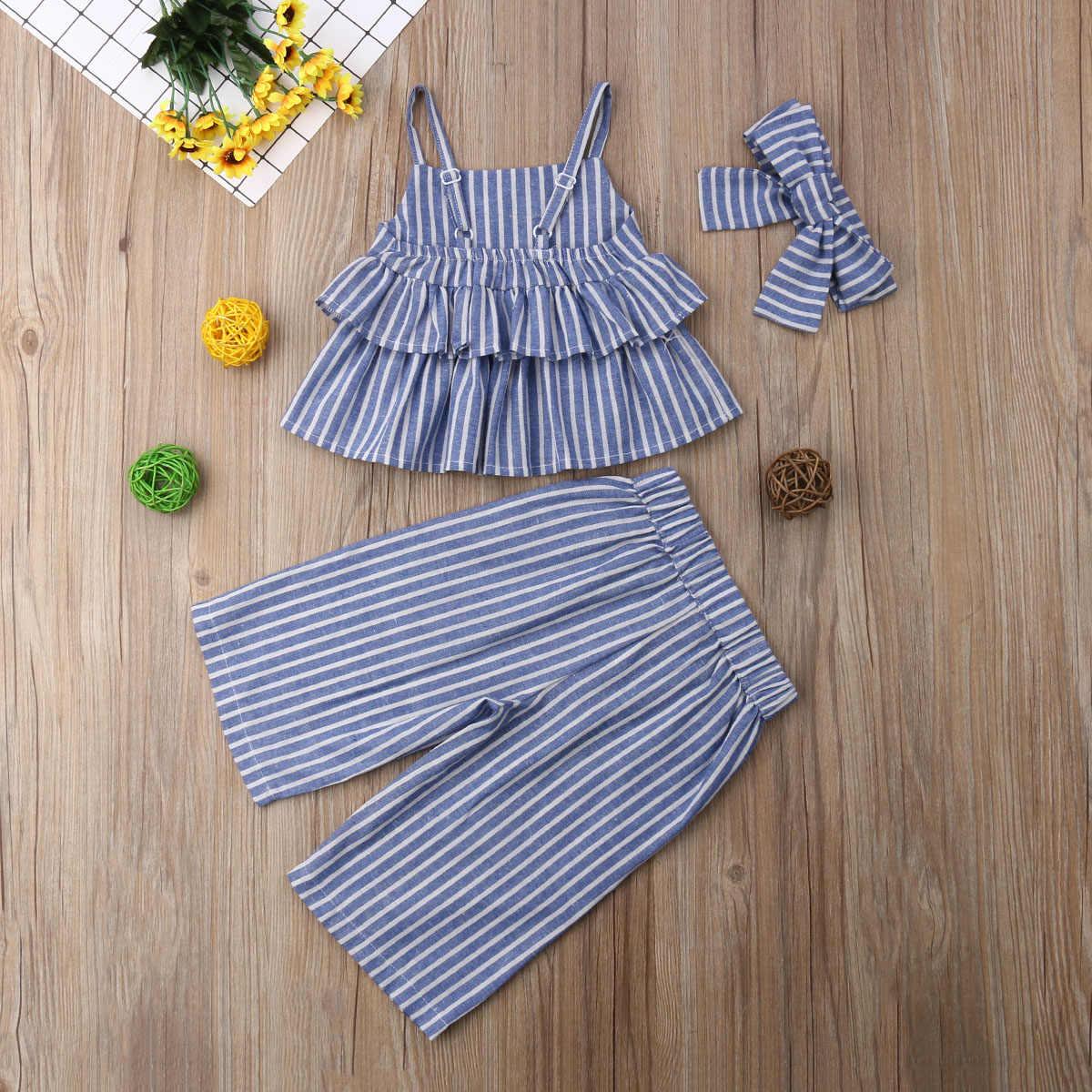 2019 Marka Yeni Bebek Bebek Kız Boho Giysileri 3 ADET Setleri Çizgili kolsuz yelek Mahsul Tops + Geniş Bacak Pantolon + kafa bandı Yaz Setleri