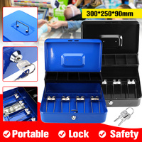 12 Inch Blue Black Portable Cash Box With Drawer Lockable Metal Money Box Coin Cash Piggy Bank Home Store Jewelry Safe Market
