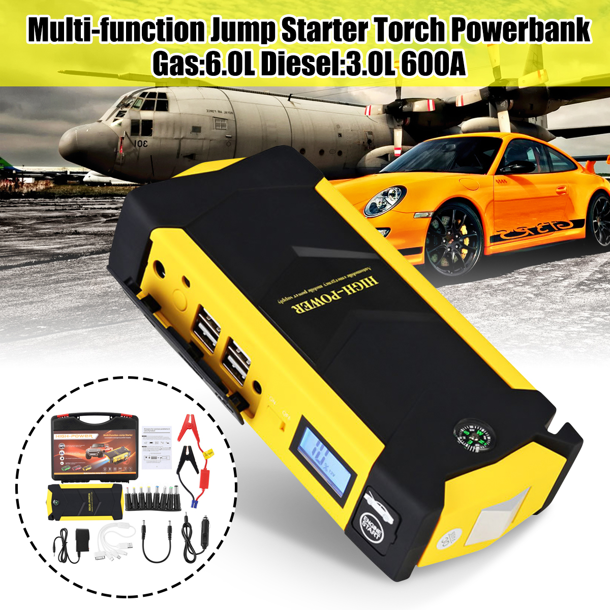 12V Mini Portable 82800mAh LED Car Jump Starter Engine Auto Emergency Starting Device Power Bank Car Phone Charger With 4USB practical 89800mah 12v 4usb car battery charger starting car jump starter booster power bank tool kit for auto starting device