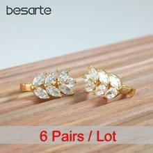 Женские золотые серьги кольца 6 пар оптовая продажа
