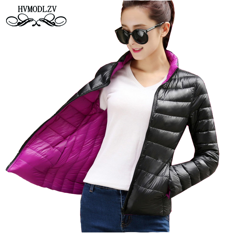 Autumn Down Women Tops Jacket Fashion Was Thin Two Sides Wear Feminino Winter Coat Plus Size Red Black Pocket Short   Parka   Ls079
