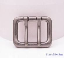 55*43mm me prata pino de língua dupla prong diy fivela de cinto de metal se encaixa correias de 40mm