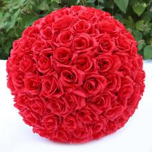 1 x çiçek topu düğün dekorasyon el yapımı yapay gül çiçekler öpüşme asılı top DIY buket ev düğün dekor