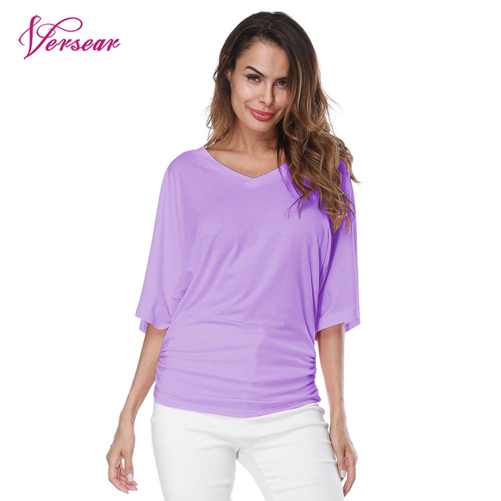 Versear Women Casual T-shirt Ruched V-Neck Batwing Short Sleeves Solid Loose Pullover Tops Plus Size S-5XL Summer Fashion Shirts