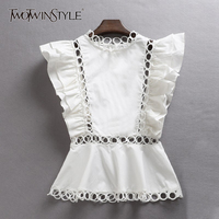 TWOTWINSTYLE Sleeveless Shirt Female Ruffles Hollow Out Patchwork Tunic High Waist Blouse For Women Summer 2019 Fashion OL Tops