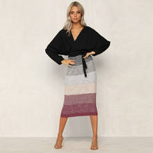 MeiHuiDa 2018 New Style Fashion Thick Warm Patchwork Skirt Slim High Waist Stretch Long Women Pencil Skirt(China)