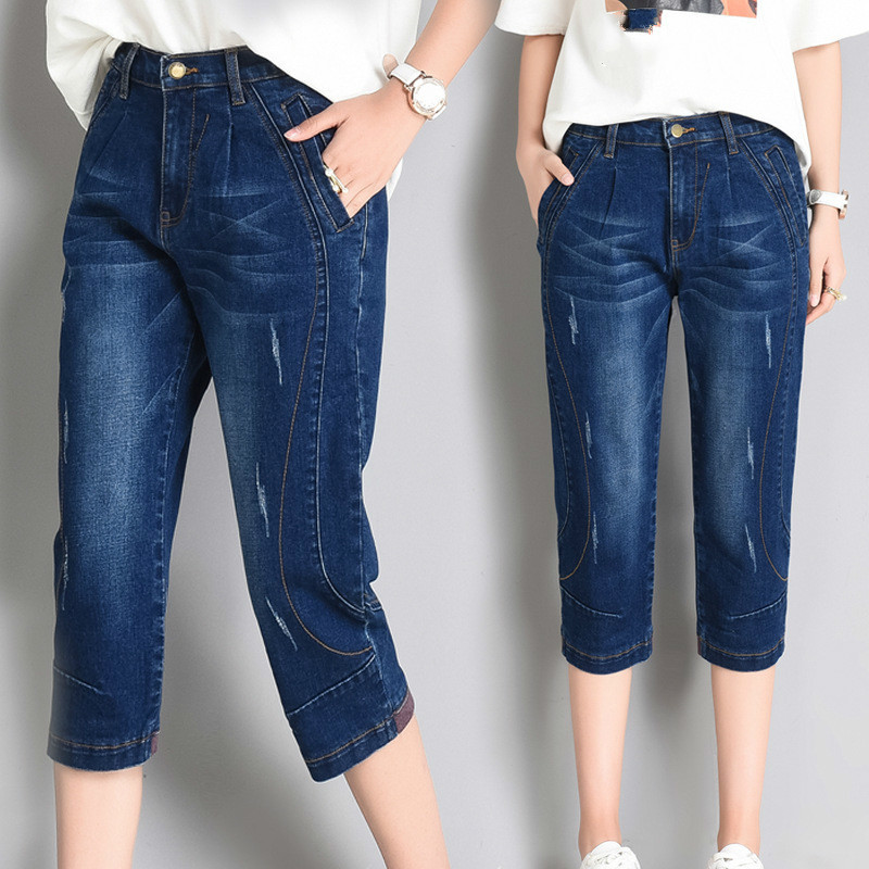 High Waist Jeans Woman Summer Washed Denim Pants Trousers Plus Size 5XL Capri Jeans For Women Short Harem Pants Female in Jeans from Women 39 s Clothing