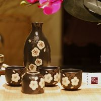 Japanese style hand painted sake wine set gift box wine pot cup fruit wine dispenser liquor winebowl 5pcs/set