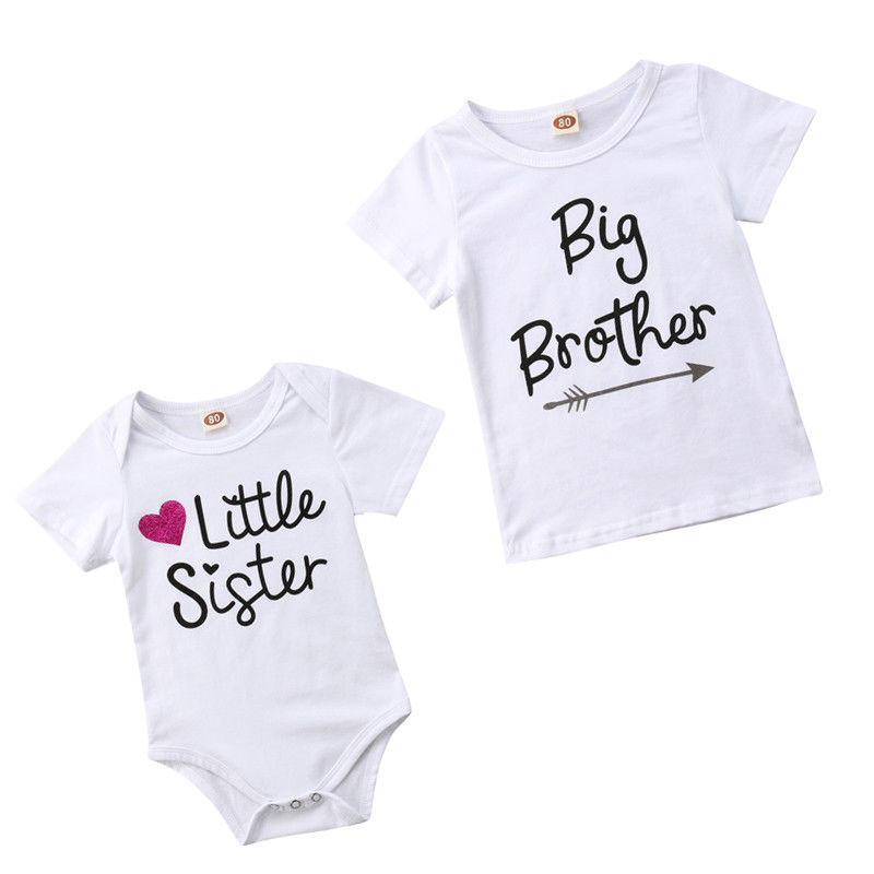 Family Matching Kids Baby Little Sister Short Sleeve Letters Rompers Bodysuit Big Brother Cotton T-shirt Tops Kids Boys Clothing