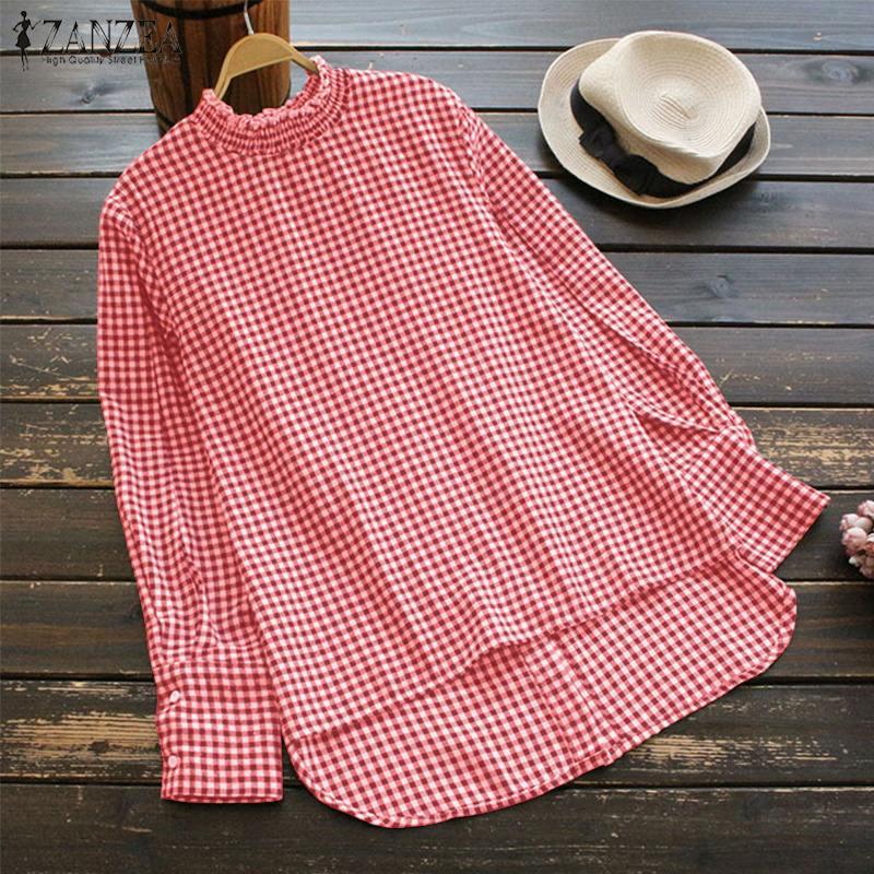 Fashion ZANZEA Spring Casual Irregular Loose Tops 2019 Women Turtleneck Long Sleeve Check Plaid Baggy Party Blouse Shirt Blusas