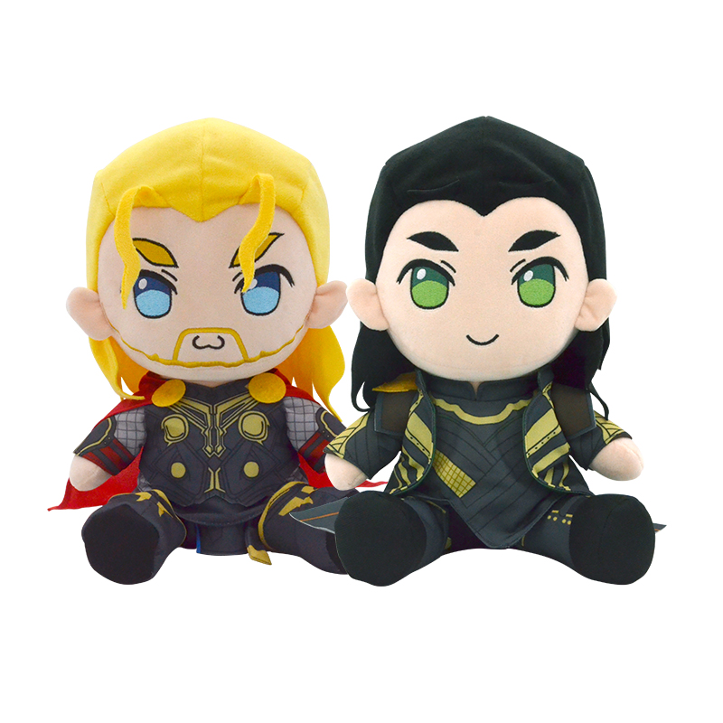 30cm The Avengers Action Figure Thor Loki Sitting Plush Toy Soft Plush Stuffed Doll Cosplay Clothe Remove Toy Gift For Children