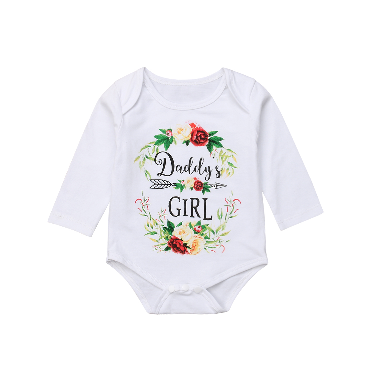 Cute Newborn Baby Girl Long Sleeve Floral Cotton Baby   Romper   Jumpsuit Outfits Baby Clothes 0-24M