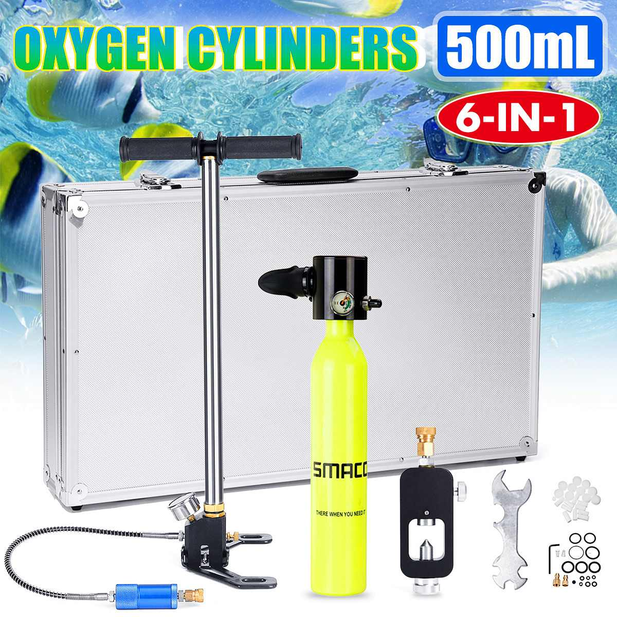 Water Sports Provided Newest Smaco 500ml Mini Diving Equipment Scuba Diving Cylinder Scuba Oxygen Reserve Air Tank Set Portable Underwater Mouthpiece