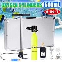 Newest SMACO 500ml Mini Diving Equipment Scuba Diving Cylinder Scuba Oxygen Reserve Air Tank Set Portable Underwater Mouthpiece