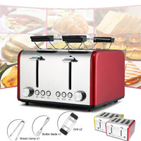 4 Slices Red/Yellow Household Automatic Toaster Bread Baking Breakfast Stainless Steel Croissant Maker Grill Clamp Butter Blade