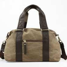 Купить с кэшбэком Large Casual Tote Men's Handbag Shoulder Handbags Canvas Leather Capacity Bags For Men Travel Bags Fashion Men Messenger Bags