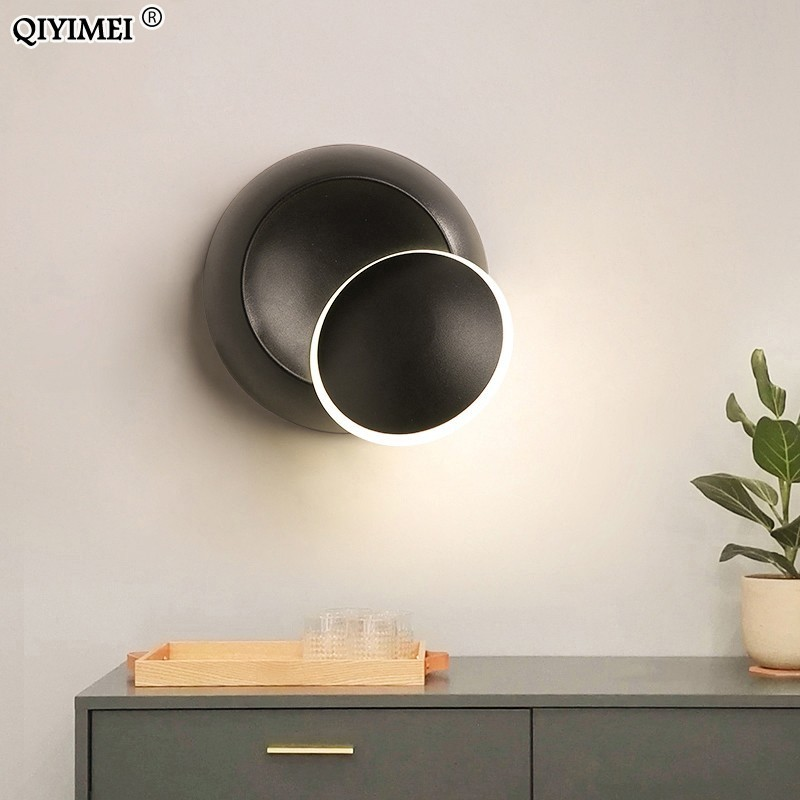 Wall Lamps Black White Body For Bedroom Living Room 90-260V Wall Light Indoor Led Wall Lamp Rotatable Plated Metal 5W Led Sconce