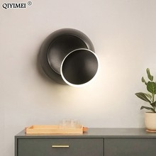Wall Lamps Black White body for Bedroom living room 90 260V Wall Light Indoor Led Wall Lamp Rotatable Plated Metal 5W Led Sconce