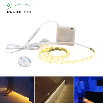 LED Strip Motion Sensor Light Battery Powered 50CM 1M 2M 3M 4M 5M Bedroom Closet Stairs LED Stripe with Night Sensor Cool Warm цена 2017