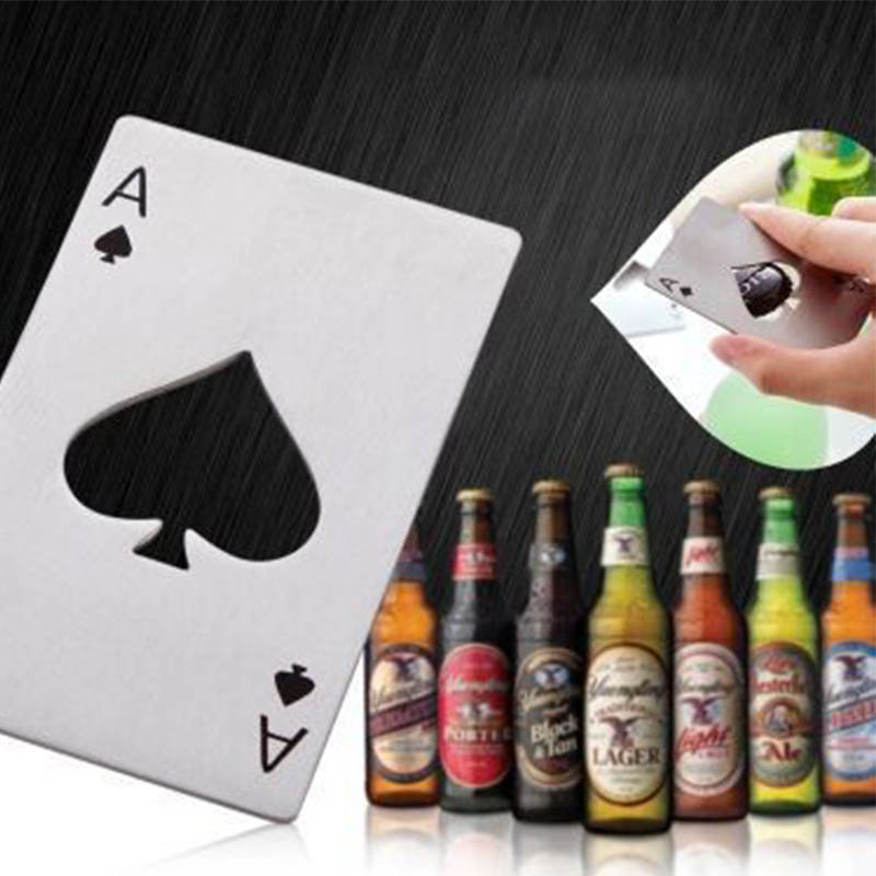 פוקר נירוסטה בירה בקבוק פותחן משחק כרטיס אס בר כלי מצחיק 1 pc בירה פותחני נייד