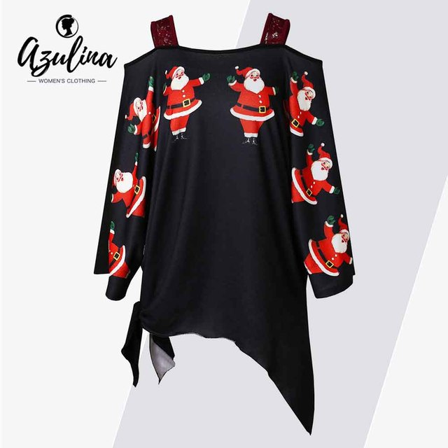 016cf144d AZULINA Plus Size Open Shoulder Santa Claus Christmas T-Shirt Women Square  Neck Long Sleeves Asymmetrical Xmas T Shirt Clothing