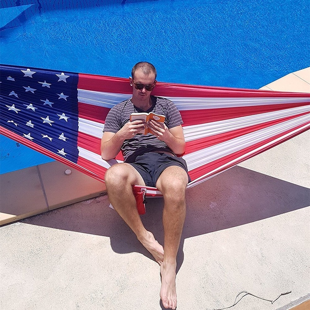 US Flag Hammock For Outdoor Camping Independence Day Gift Printing Parachute Fabric Sleeping Bed Hamak Hamac 106
