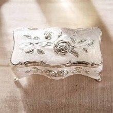 Винтажный ювелирный чехол элегантная коробка для ювелирных изделий Белая эмаль цинкового сплава металлическая коробка для безделушек цветок резная зубочистка хранение подарок