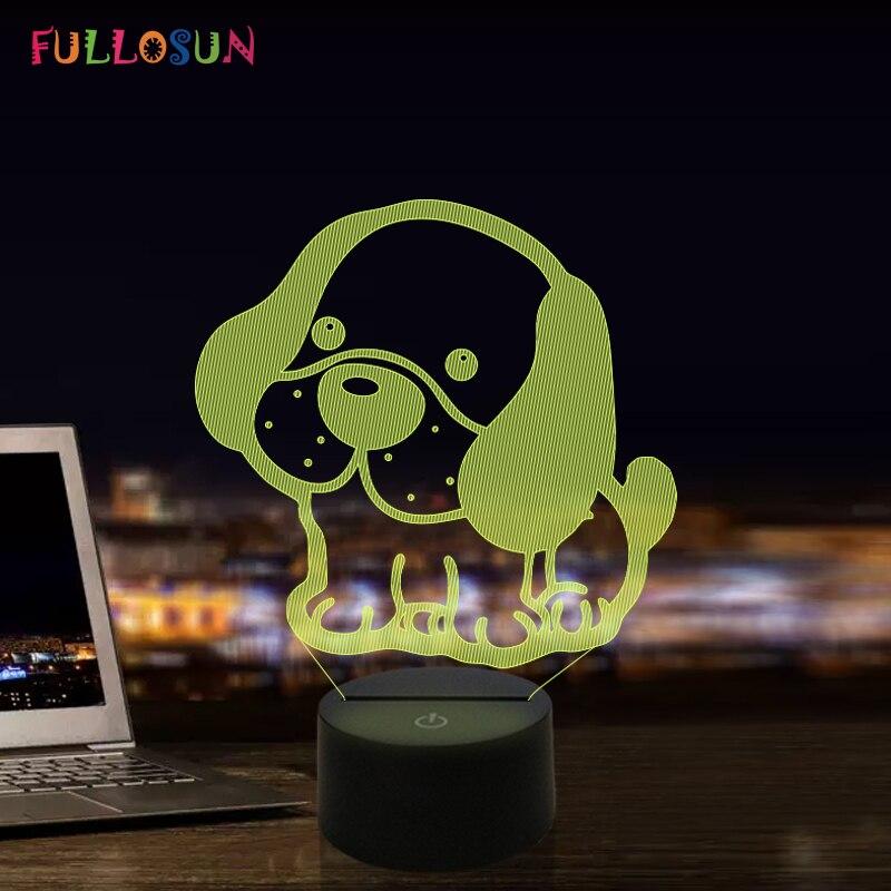 LED Night Light Cartoon Dog Lamp 3D Illusion Moon Light for Holiday Children's Gift