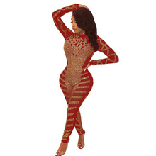 цены на MUXU fashion red sexy transparent Diamonds bodysuit rompers womens long sleeve jumpsuit one piece glitter bodycon jumpsuit  в интернет-магазинах
