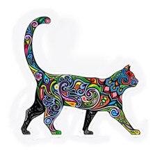 Funny Car Bumper Sticker Colorful Cat Kitten Happy Walking 94mm Vinyl Applique Decorative Personality For