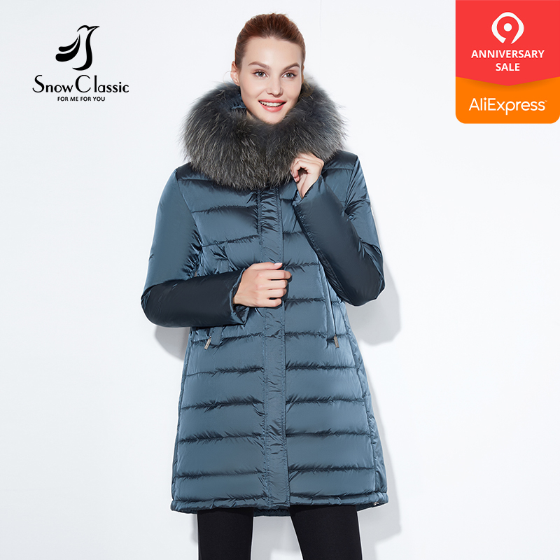 SnowClassic 2018 winter jacket Fashionable women thick Long Coat Warm Jackets Hood Adjustable Waist solid slim