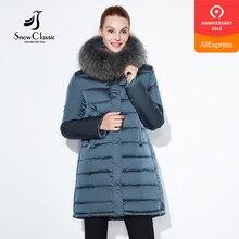 SnowClassic 2018 חורף מעיל אופנתי נשים עבה ארוך מעיל חם מעילי הוד מתכוונן מותן מוצק slim כותנה מרופד