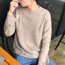 #8003 Fall 2018 Hip hop knitted sweater Ripped Vintage O-neck Sweater coat High street Solid color Pullover sweater Mens jumpers