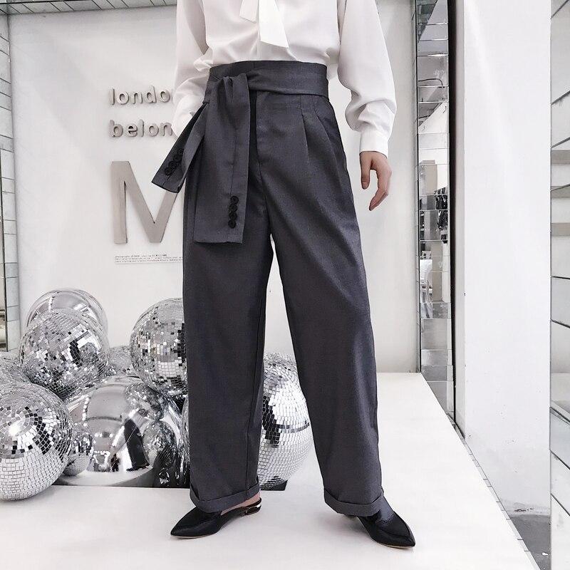 Mode décontracté show lâche taille haute homme pantalon droit japon Harajuku Kimono pantalon M-2XL