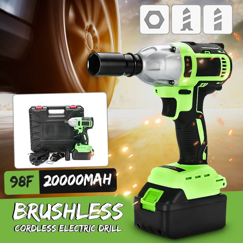 Brushless Cordless Electric Wrench 320N.m Impact Socket Wrench 98F 20000mAh Battery Hand Driver Drill Home Repair Power ToolsBrushless Cordless Electric Wrench 320N.m Impact Socket Wrench 98F 20000mAh Battery Hand Driver Drill Home Repair Power Tools