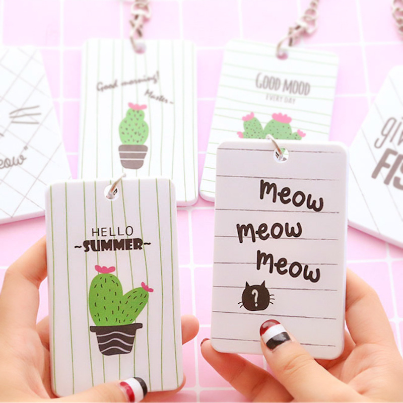 1PC Cute Cactus Cat Plastic Card Cover Paperwork Bus Card Holder For Kids Students Office School Supplies Stationery Accessories