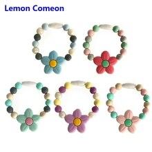 Lemon Comeon Baby Teether Flower Silicone Teething Ring Bracelet Bangle Toy Food Grade BPA Free Product
