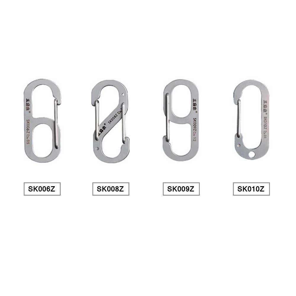 Extérieur multifonctionnel en acier inoxydable porte-clés anneau mousqueton Clip sac à dos fermoir mousqueton en acier inoxydable outil porte-clés