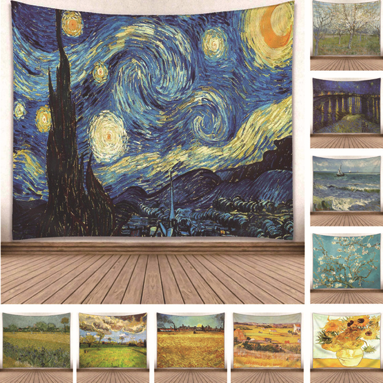Star Moon Night Van Gogh Painting Printed Living Room Decoration Wall Hanging Tapestry Yoga Mat Rug Home Decor Art 230X180cm