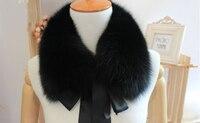 New Fashion Real Fox Fur Shawl Collar Children Burp Cloths Scarf Autumn Winter Warm Fur Solid Collar Scarf Size 54*10com