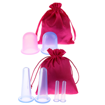 6 Pieces Silicone Anti Cellulite Massage Vacuum Cupping Body Cups With Bag