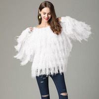 New 2019 Spring Women's Tassels Fringed Sweater Faux Mink Cashmere White Jumper Fashion Black Pull Femme Pink Knitting Sweaters